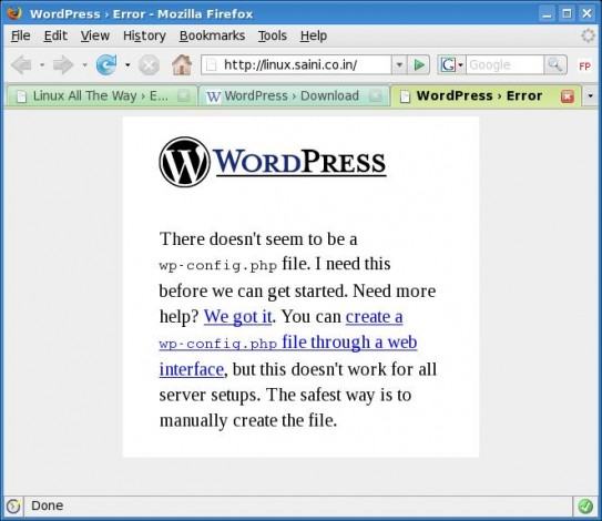 Wordpress Error Without wp-config
