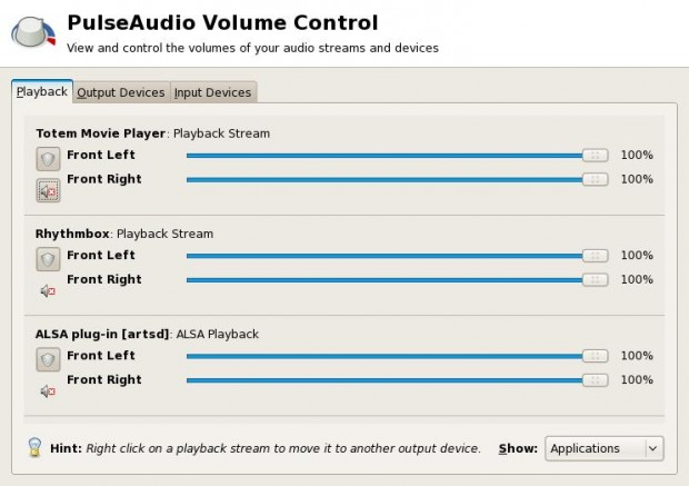 Pulseaudio Device and Application Control