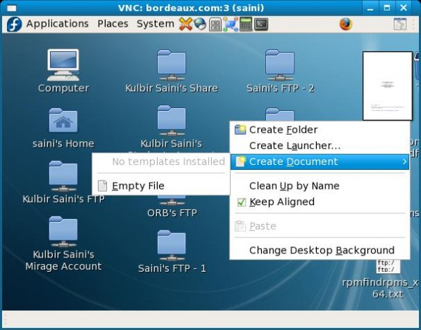 VNC Server VNC Viewer Screenshot GNOME