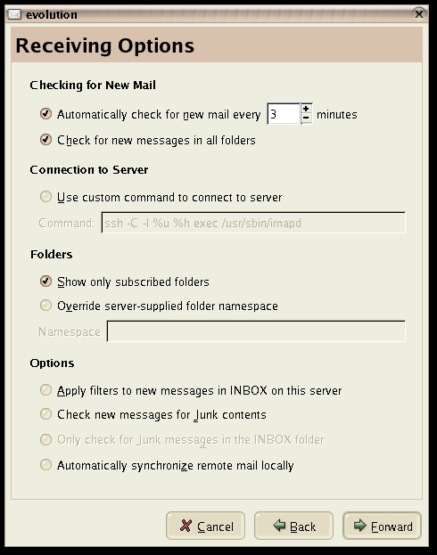 Evolutoin Mail Server Preferences
