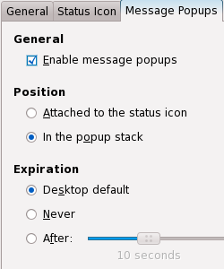 Mail Notification Message Popups Settings