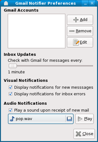 GNOME Gmail Notifier Prefreneces