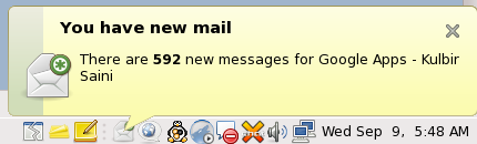 GNOME Gmail Notifier New Mail Notification